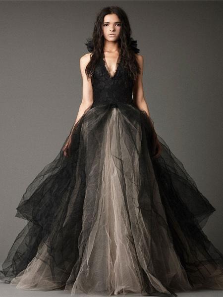 Ball Gown Wedding Dresses Halter Neck Floor Length Satin Tulle Regular Straps Black Modern_1