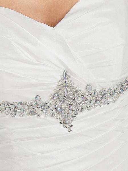 Ball Gown Sweetheart Neckline Chapel Train Taffeta Sleeveless Sparkle & Shine Wedding Dresses_3
