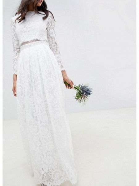 Two Piece A-Line Wedding Dresses Jewel Neck Floor Length Lace Polyester Long Sleeve Casual Boho Plus Size_2