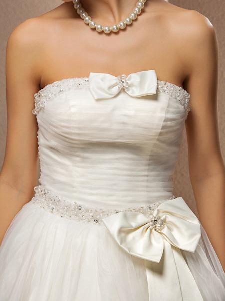 Ball Gown Wedding Dresses Strapless Floor Length Tulle Sleeveless_7