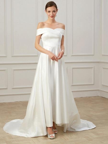 A-Line Wedding Dresses Off Shoulder Court Train Satin Short Sleeve Formal Vintage Plus Size_2