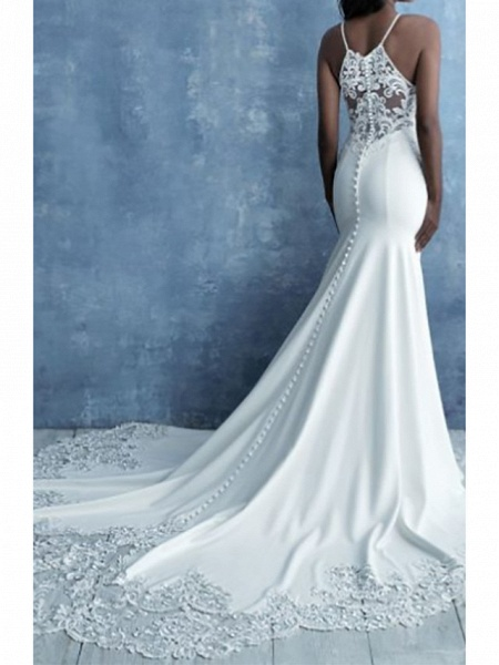 Mermaid \ Trumpet Wedding Dresses Halter Neck Court Train Lace Satin Cap Sleeve Country_2