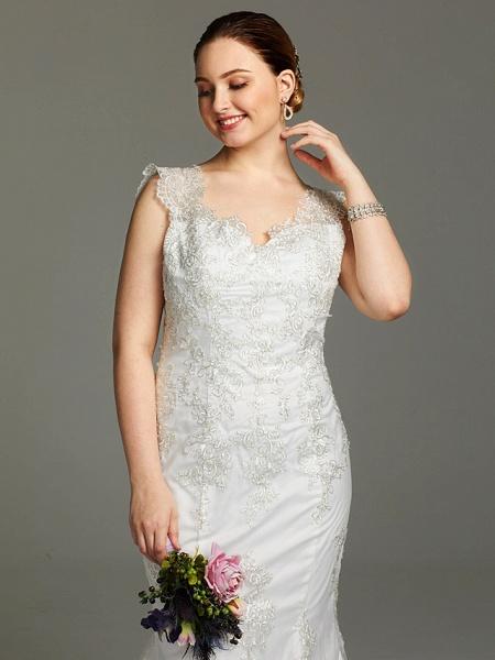 Mermaid \ Trumpet Wedding Dresses V Neck Court Train Lace Sleeveless Open Back See-Through_5