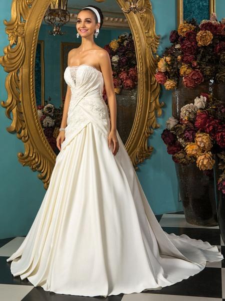 A-Line Wedding Dresses Strapless Court Train Satin Sleeveless_3