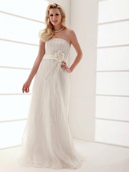 Sheath \ Column Wedding Dresses Strapless Floor Length Organza Sleeveless_3