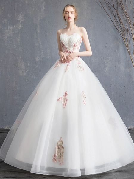 A-Line Wedding Dresses Strapless Maxi Lace Organza Tulle Strapless Country Romantic Sparkle & Shine_2