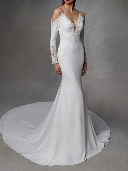 Mermaid \ Trumpet Wedding Dresses V Neck Court Train Stretch Satin Lace Over Satin Long Sleeve_1