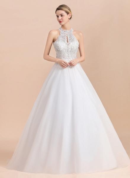 Halter Lace Appliques A-line Sleeveless Wedding Dress_4