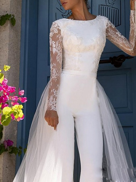 Jumpsuits Wedding Dresses Jewel Neck Court Train Lace Tulle Polyester Long Sleeve Illusion Sleeve_3