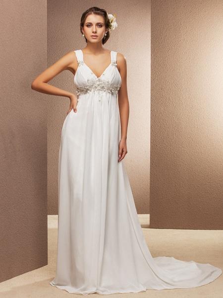 Sheath \ Column Wedding Dresses V Neck Court Train Chiffon Sleeveless See-Through_1