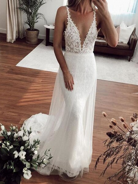 Mermaid \ Trumpet Plunging Neck Sweep \ Brush Train Lace Tulle Sleeveless Country Plus Size Wedding Dresses_1