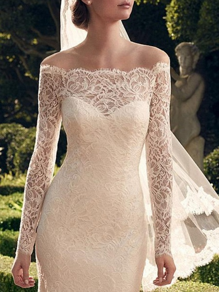 Mermaid \ Trumpet Wedding Dresses Off Shoulder Sweep \ Brush Train Lace Long Sleeve Romantic Sexy See-Through_3