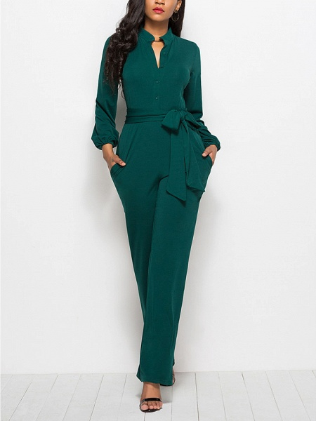 Women's Ordinary \ Business Wine Black Red Jumpsuit_3