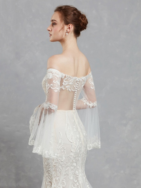 Mermaid \ Trumpet Off Shoulder Court Train Lace Tulle Long Sleeve Romantic Boho See-Through Backless Illusion Sleeve Wedding Dresses_9