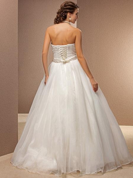 Ball Gown Wedding Dresses Strapless Floor Length Tulle Sleeveless_4