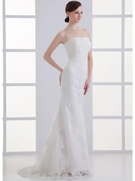 Mermaid \ Trumpet Strapless Court Train Lace Satin Tulle Strapless Wedding Dresses_2