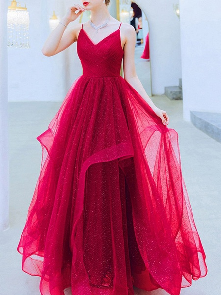 A-Line Wedding Dresses V Neck Floor Length Organza Sleeveless Romantic Plus Size Red_1
