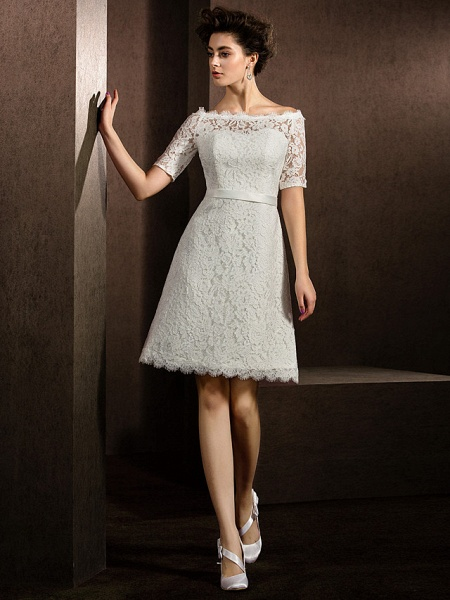 A-Line Wedding Dresses Bateau Neck Knee Length Lace Half Sleeve Formal Casual Little White Dress Illusion Sleeve_1