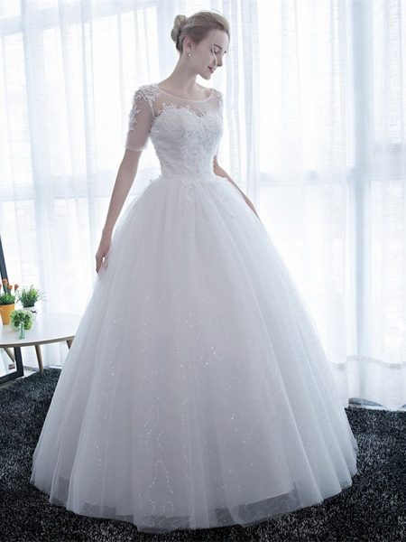Ball Gown Wedding Dresses Scoop Neck Floor Length Satin Lace Over Tulle Half Sleeve Simple Backless_7