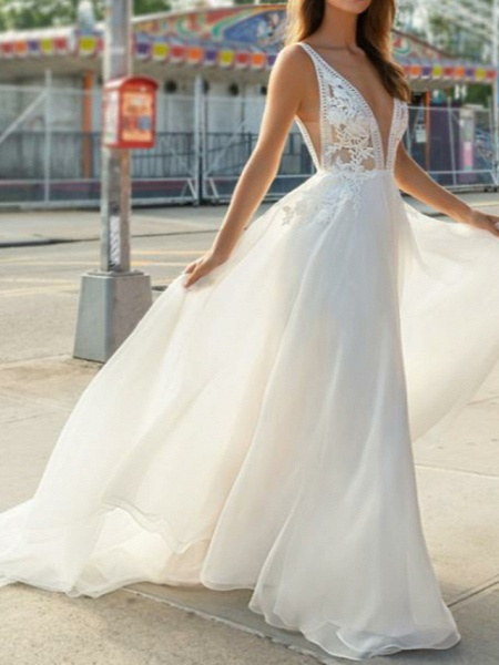 A-Line Wedding Dresses V Neck Sweep \ Brush Train Chiffon Lace Spaghetti Strap Illusion Detail Backless_1