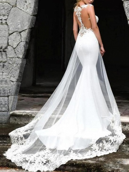 Mermaid \ Trumpet Wedding Dresses Jewel Neck Court Train Lace Tulle Chiffon Over Satin Sleeveless Country Plus Size_2