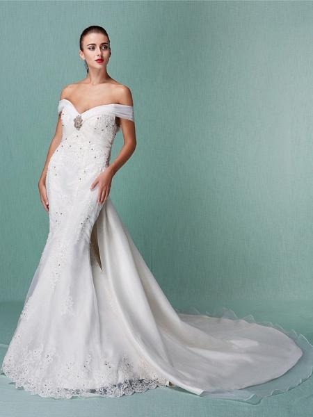 Mermaid \ Trumpet Wedding Dresses Off Shoulder Chapel Train Organza Short Sleeve_1