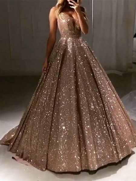 Ball Gown Luxurious Sparkle Quinceanera Prom Dress V Neck Sleeveless Sweep \ Brush Train Sequined_1