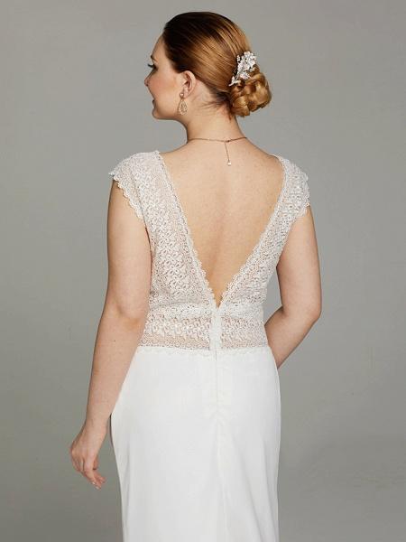 Mermaid \ Trumpet Wedding Dresses V Neck Sweep \ Brush Train Chiffon Lace Sleeveless Open Back See-Through_6