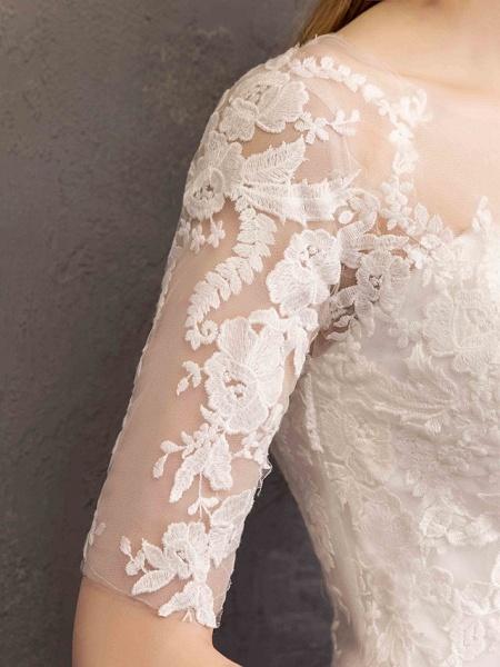 Ball Gown Wedding Dresses Sweetheart Neckline Floor Length Lace Tulle Half Sleeve Glamorous See-Through Illusion Sleeve_7