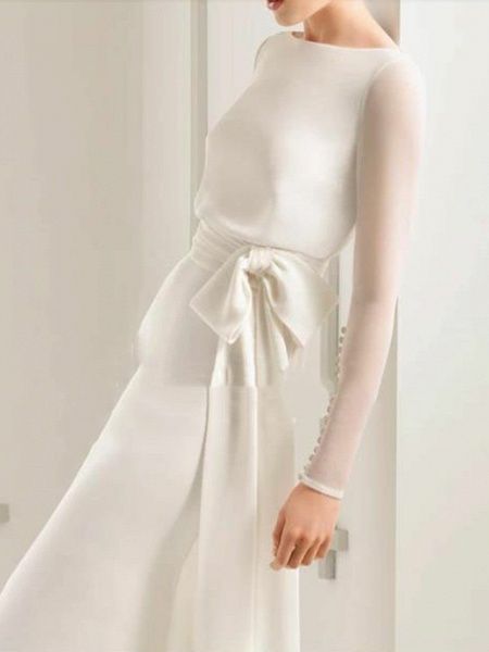 Sheath \ Column Wedding Dresses Bateau Neck Sweep \ Brush Train Floor Length Satin Tulle Long Sleeve Simple Elegant_3