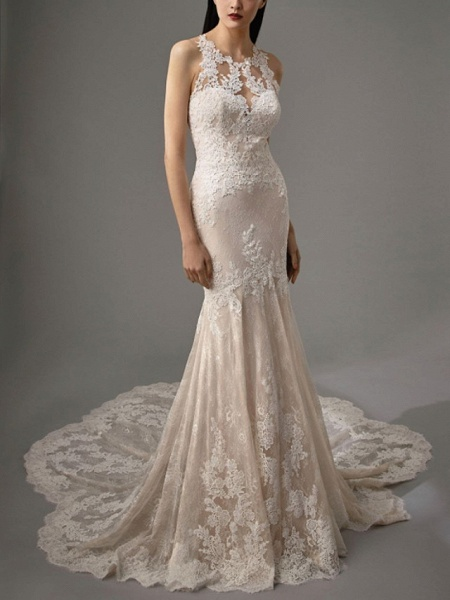 Sheath \ Column Wedding Dresses Jewel Neck Chapel Train Lace Sleeveless Sexy Wedding Dress in Color_3