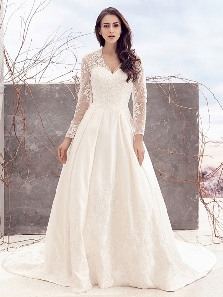 A-Line V Neck Chapel Train Lace Over Satin Long Sleeve Vintage Illusion Sleeve Wedding Dresses_2