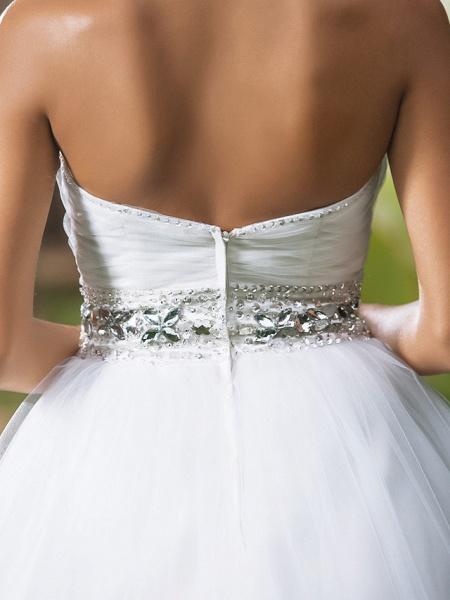 Ball Gown Wedding Dresses Sweetheart Neckline Floor Length Tulle Sleeveless Open Back_8