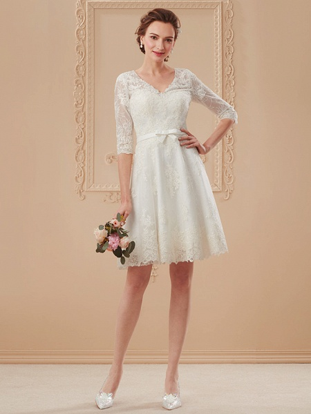 A-Line Wedding Dresses V Neck Knee Length All Over Lace 3\4 Length Sleeve Formal Casual Vintage Cute Illusion Sleeve_14