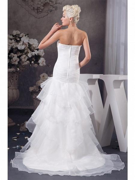 Mermaid \ Trumpet Strapless Chapel Train Organza Satin Strapless Plus Size Wedding Dresses_3