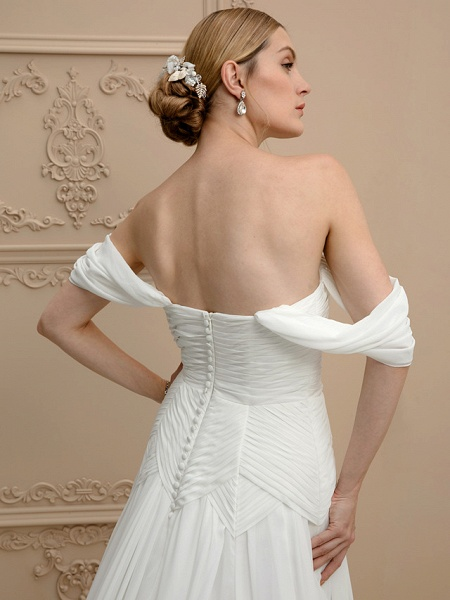 Princess A-Line Wedding Dresses Strapless Cathedral Train Chiffon Sleeveless Open Back_5