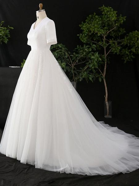 A-Line V Neck Court Train Satin Tulle Half Sleeve Simple Elegant Wedding Dresses_3