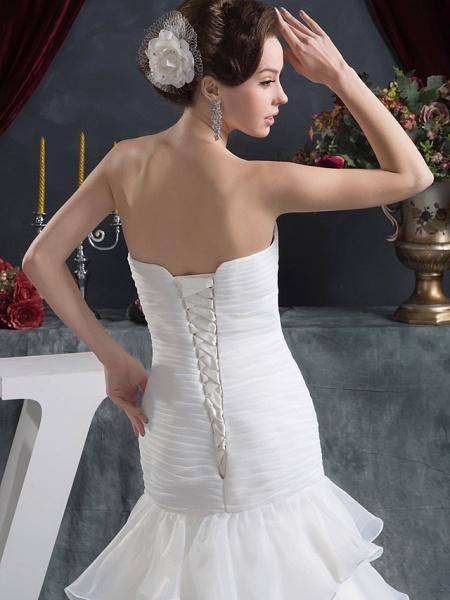 Mermaid \ Trumpet Strapless Court Train Organza Satin Strapless Plus Size Wedding Dresses_6