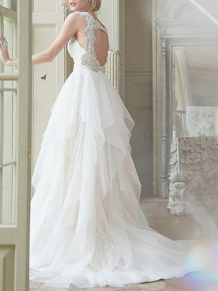 A-Line Wedding Dresses V Neck Sweep \ Brush Train Tulle Chiffon Over Satin Cap Sleeve Sexy Backless_3