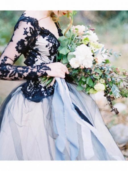 Ball Gown Wedding Dresses V Neck Sweep \ Brush Train Polyester Long Sleeve Formal Plus Size Black Modern_1