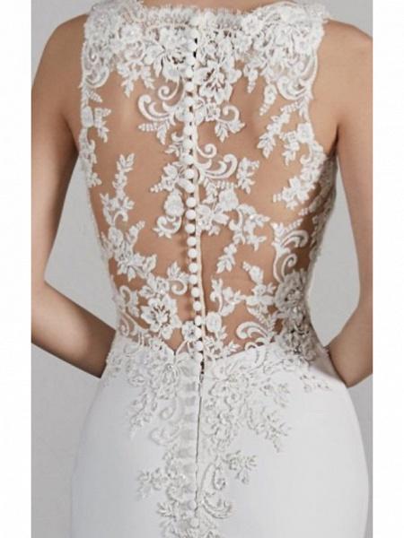 Mermaid \ Trumpet Wedding Dresses Bateau Neck Court Train Charmeuse Regular Straps Formal Plus Size_2
