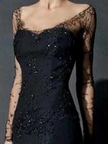 Mermaid \ Trumpet Wedding Dresses V Neck Sweep \ Brush Train Lace Tulle Long Sleeve Formal Black Modern Illusion Sleeve_1