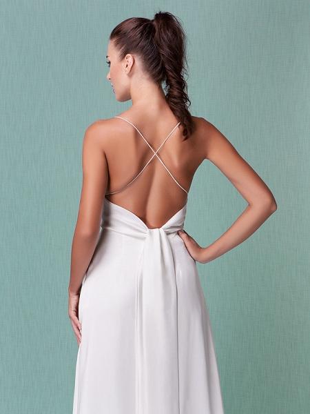 Sheath \ Column Wedding Dresses V Neck Floor Length Chiffon Spaghetti Strap Sexy Backless_4