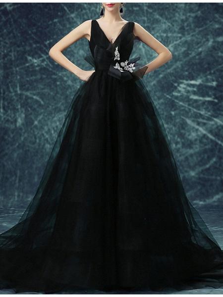 A-Line Wedding Dresses V Neck Sweep \ Brush Train Chiffon Tulle Sleeveless Formal Plus Size Black_2