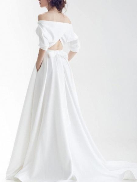 A-Line Wedding Dresses Off Shoulder Sweep \ Brush Train Chiffon Over Satin Half Sleeve Simple_3