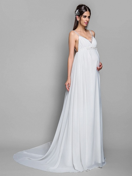 Sheath \ Column Wedding Dresses Spaghetti Strap Sweep \ Brush Train Chiffon Sleeveless_3