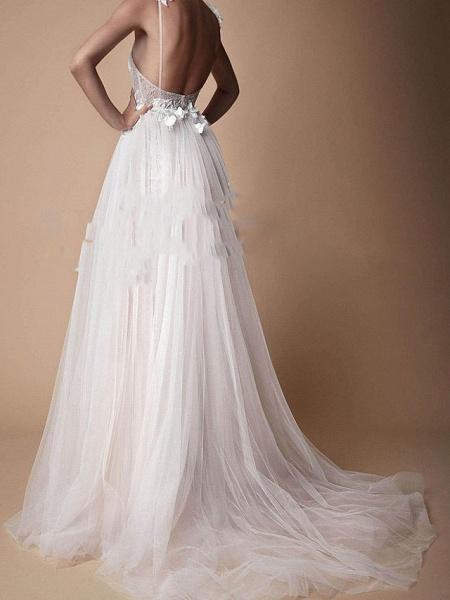 A-Line Wedding Dresses V Neck Floor Length Lace Tulle Cap Sleeve Formal Boho Plus Size_3