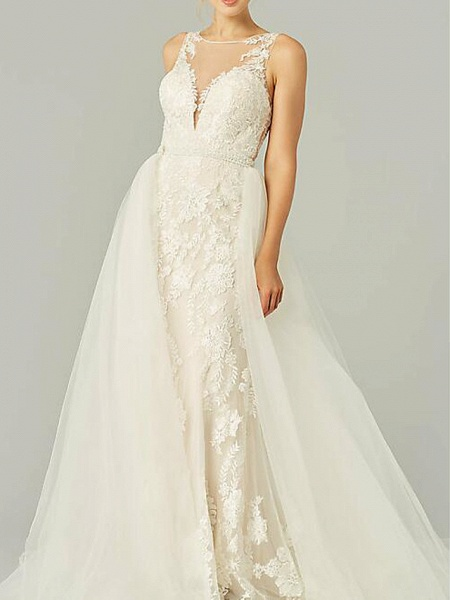 A-Line Wedding Dresses Jewel Neck Sweep \ Brush Train Lace Tulle Sleeveless Country See-Through Plus Size_1