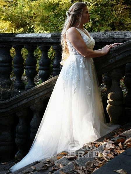 Elegant Champagne Appliques A-line Lace Wedding Dress_2