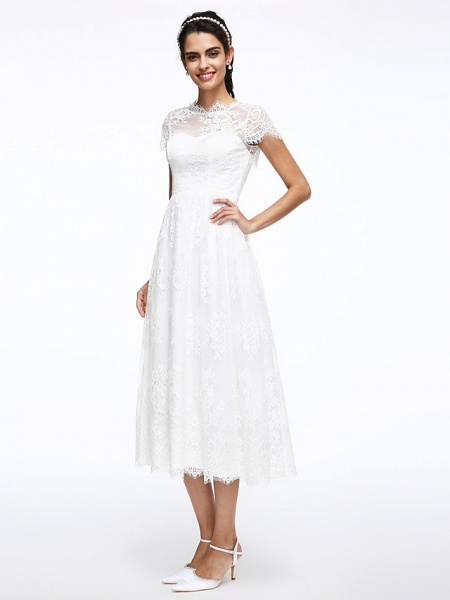 A-Line Wedding Dresses Jewel Neck Tea Length Lace Short Sleeve Simple Casual Illusion Detail Backless_6